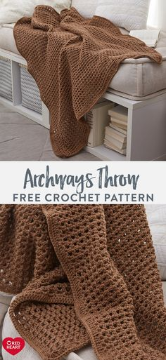 Archways Throw free crochet pattern in Super Saver Jumbo yarn. Refresh the look of any space with this delightful crochet throw featuring a breezy eyelet design. Use only 2 skeins of Red Heart Super… Crochet Afghans, Crochet Throw Pattern, Crochet Stitches Patterns, Knit Or Crochet, Crochet Designs, Crochet Blankets, Granny Pattern, Throw Blankets, Crotchet