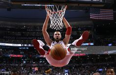 <a gi-track='captionPersonalityLinkClicked' href=/galleries/search?phrase=Jonas+Valanciunas&family=editorial&specificpeople=5654195 ng-click='$event.stopPropagation()'>Jonas Valanciunas</a> dunks in the third quarter as the Toronto Raptors drop their NBA play-offs opener to the Indiana Pacers 100-90 at the Air Canada Centre in Toronto. April 16, 2016.