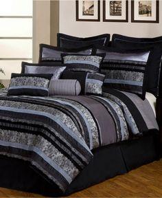 Noir Black 12 Piece Queen Comforter Set - Bed in a Bag - Bed & Bath - Macy's
