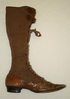 Ladies' Brown Cycling Boots, 1890s.