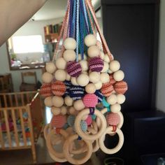 Crochet teething necklace for mom with wooden ring by MagazinIL