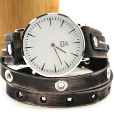 Distressed black triple wrap leather band with white watch face