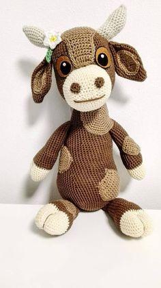 Crochet Pattern Cow Debbie Amigurumi PDF Cute Spotted Brown #affiliate