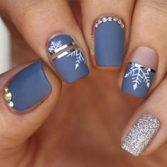 52 winter nail colors and designs, mismatched nail colors, mismatched nail designs, winter nail - Nails Winter Nail Designs, Winter Nail Art, Colorful Nail Designs, Winter Nails, Nail Art Designs, Nail Ideas For Winter, Nails Design, Xmas Nails, Holiday Nails