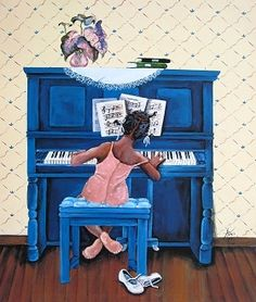 Rhapsody in A Minor by Annie Lee. Shop for high-quality Annie Lee prints and posters and African American art to decorate African American Artist, African Art, Caricatures, Piano Y Violin, Piano Art, Piano Keys, Annie Lee, Black Artwork, Black Girl Art