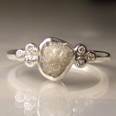 Raw White Diamond Engagement Ring  Recycled Sterling by artifactum, $398.00