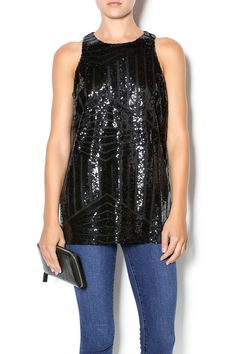 Black patterned sequin sleeveless long tank with abutton closure in theback. Pairs well with evening pants or dress up your favorite jeans.   Black Sequin Tank by Buddy Love. Clothing - Tops - Sleeveless Clothing - Tops - Blouses & Shirts Dallas, Texas