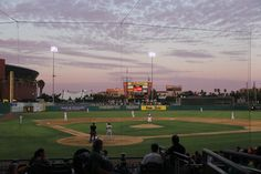 Sunset at Banner Island Ballpark, Home of the Stockton Ports, Class A affiliate of the Oakland A's.