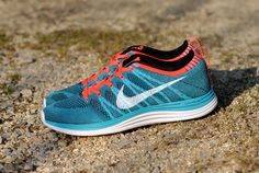 #Nike Flyknit Lunar 1+ Blue Orange