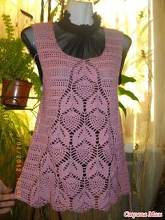 Häkeln Tunika Top rosa -  crochet tunic top