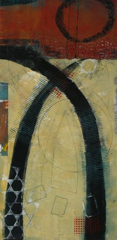 "Playful Portal, by Anne Moore, monotype with collage, 20""X10"""