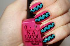 Pink, light blue and black nails