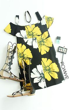 Cold Shoulder Florals Ruffle Dress