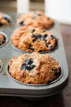 Whole wheat muffins with oat flour and no eggs but are huge and fluffy still! ohsweetbasil.com