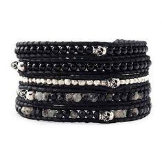 5 strand black wrap bracelet with tibetan skulls