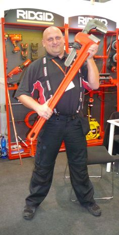 Meet Ireneusz, one of our enthusiast representatives in Poland, holding a 60'' RIDGID pipe wrench.