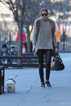 Leather pants and sneakers Olivia Palermo