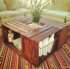 Four crates placed on their sides is an easy way to make a rustic coffee table with great storage.