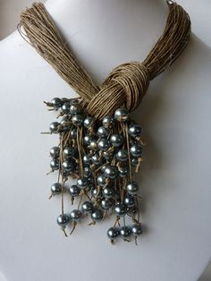 One of a Kind Natural Linen with Silver Pearls Necklace