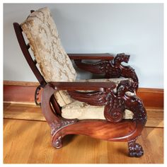 Morris Chair Heavily Carved Griffin And Paw Vintage