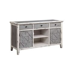 Furniture :: Home Entertainment :: Entertainment Centers  THREE DRAWER, TWO DOOR, AND TWO CUBICLE CONSOLE IN GRAY AND WHITE FINISH  The Gianote media console gives your home the style and functionality you have been searching for. This cabinet has a beautiful grey and white finish with a raised diamond pattern on the door panels. Three drawers, one open shelf, and two doors create generous storage space.