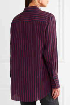 Sonia Rykiel - Striped Silk Crepe De Chine Shirt - Midnight blue - FR36