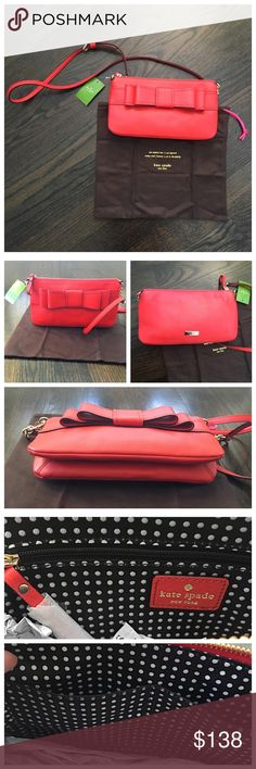 """NWT Kate Spade Crossbody Bag Geranium Red Authentic Kate Spade bag in Geranium (a pretty red) leather. Comes with dust bag. Zip closure. One side has 2 open pockets and the other has a zip pocket. Gold tone hardware, fully lined. Approximately 11Lx2""""Wx6""""H. ❤️Sorry , I do not trade❤️ kate spade Bags Crossbody Bags"""