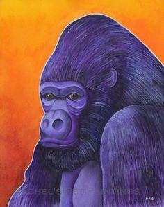 Gorilla Art Print Watercolor Gorilla Painting by RFisherStudios