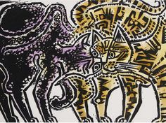 Two cats   John Craxton, 1977 - Watercolour over printed base