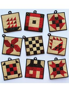 9 designs to choose from. Skill Level: Beginners Finished Size: x Pattern Designed by: Sandy Petsche Crochet Potholder Patterns, Quilted Potholders, Patchwork Quilt Patterns, Quilting Patterns, Drops Design, Seminole Patchwork, Postage Stamp Quilt, Christmas Sewing, Mini Quilts