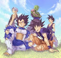 Trunks , Vegeta , Goku , Piccoro y Goten -Dragon Ball