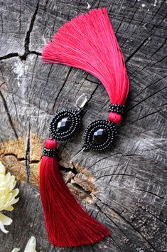 Black tassel earrings Beaded crimson long tassel earrings Dangle winter fall tassel earrings Beaded black tassel earrings Gift for woman by WHIMSYofQUEEN on Etsy