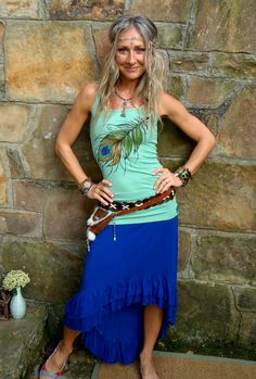 TANK sea foam PEACOCK FEATHER top tank top hand painted clothes bohemian clothing cotton tank top made to order      From GPyoga
