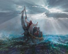 picture of jesus christ calming the storm from the boat with his diciples Peace Pictures, Storm Pictures, Bible Pictures, Images Of Christ, Pictures Of Jesus Christ, Lds Art, Bible Art, Jesus Art, God Jesus