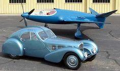 """Bugatti Type 57 Atlantic automobile and the Bugatti 100P Aeroplane """"Le rêve bleu"""" (The Blue Dream)"""