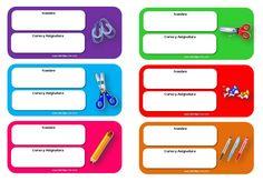 Diferentes modelos de etiquetas escolares para descargar gratis, para utilizar en cuadernos, libros de texto, carpetas... con dibujos, en color, grises...