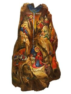 Items similar to Hand-painted Icon on Tree Trunk Wood in Traditional Style of Nativity Of Jesus Christ on Etsy Byzantine Icons, Byzantine Art, Paint Icon, Christ The King, Orthodox Icons, Christian Art, Religious Art, Hand Painted, Trending Outfits