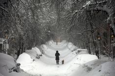 A woman walks down Beacon Hill during a severe winter storm in Boston, Massachusetts, on Feb. 9, 2013. (Reuters/Brian Snyder)