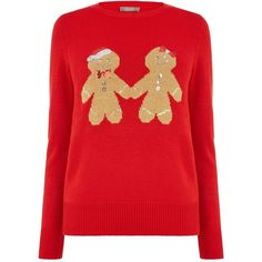 Oasis Ginger Bread Xmas Jumper (€45) ❤ liked on Polyvore featuring tops, sweaters, women knitwear, ginger tops, red sweater, christmas tops, knitwear sweater and xmas sweaters