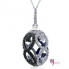1.52 Carat Fancy Black and White Diamond Faberge Egg Pendant 18 inches Singapore Necklace 10k White Gold