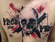 As tatuagens abstratas do estilo Trash Polka