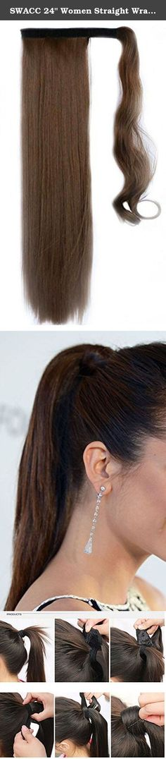 """SWACC 24"""" Women Straight Wrap Around Ponytail Extension Synthetic Clip in Hair extensions (Dirty Brown-12#). The Simply straight Wrap Around Pony is a way to instantly create a beautiful,long,thick ponytail that looks as natural as your own! The pony is approximately 24"""" long. It is made with revolutionary heat friendly synthetic fiber that moves and feels like real hair and can be styled with heat tools up to 270 degrees Fahrenheit. The Curly Body Wave style has precision salon inspired..."""