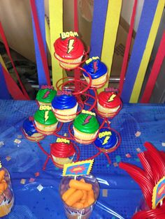 sweets table at our superhero bday party