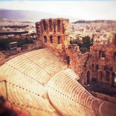 This is the Odeon of Herodes Atticus in Athens. Built in 161 AD by Herodus himself in memory of his wife, Regilla. >>> What's really amazing is that they still host performances here every year from June to Sept!