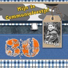 #communie.Feestje te vieren?Stoere en trendy kaart voor Hem en Haar!Communiefeestje trendy jongen - Communiekaarten - Kaartje2go