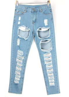 Bleached Ripped Blue Denim Pant 23.67