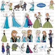 Disney Frozen Clip Art Clipart Resizeable Quick Page Scrapbook  Digital Paper Printable Art Sizeable