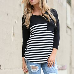 This sporty chic striped top is a perfect topper for skinny jeans and looks great with a pop of red lipstick. With a soft jersey knit construction and slightly loose fit, this pocketed tee is as flattering as it is essential to any closet.