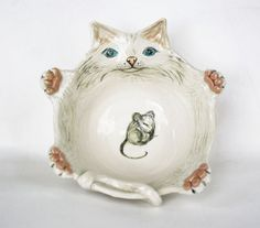 The Cat Takes The Mouse Bowl by saraelynch on Etsy, $100.00