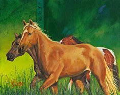 """NJ Busse Fine ArtOriginal Equine Painting """"Greener Pastures"""" by Nancee Jean Busse, Painter of the American West"""
